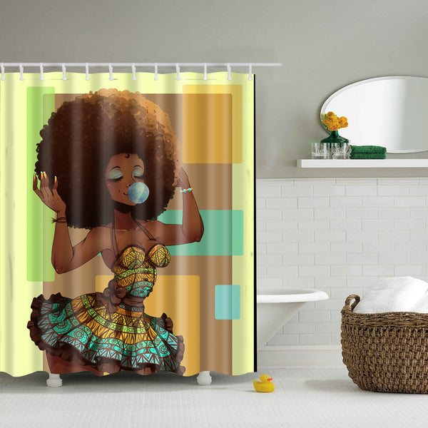Afro Diva African Hairstyle Blowing Gum Shower Curtain | GoJeek