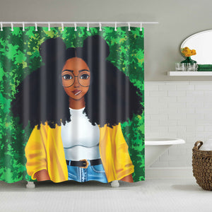 Afro Hairstyle Black Girl with Lollipop Shower Curtain