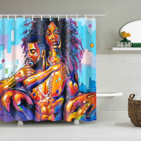 Afro King and Queen Couple Loves Painting Shower Curtain