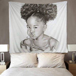 Afro Latino Sketch Art Cute Pretty Black Girl Tapestry