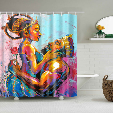 Afro Lovers Noble Queen and King with Rose Shower Curtain