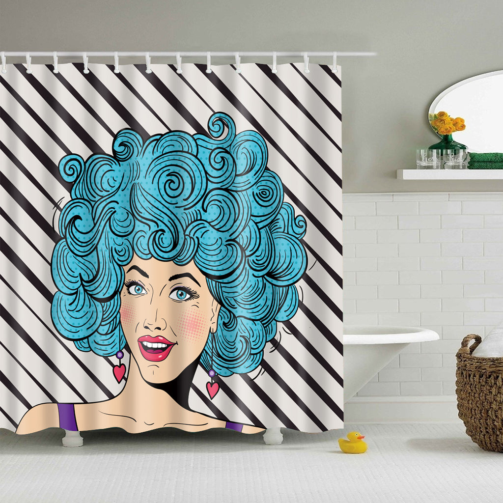 Afrocentric Blue Hairstyle Girl Shower Curtains | GoJeek