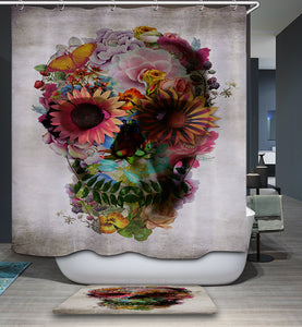 Ali Gulec Floral Skull Art Print Shower Curtain | GoJeek
