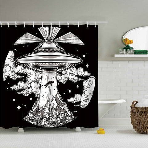 Tenda per doccia Alien Spaceship UFO Shower Curtain