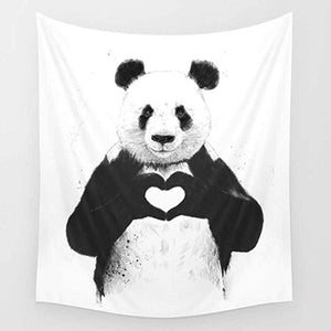 All You Need is Love Black White Panda Tapestry