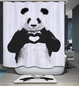 All You Need is Love Panda Shower Curtain | GoJeek