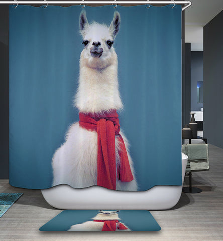 Alpaca Wearing Red Scarf Llama Shower Curtain