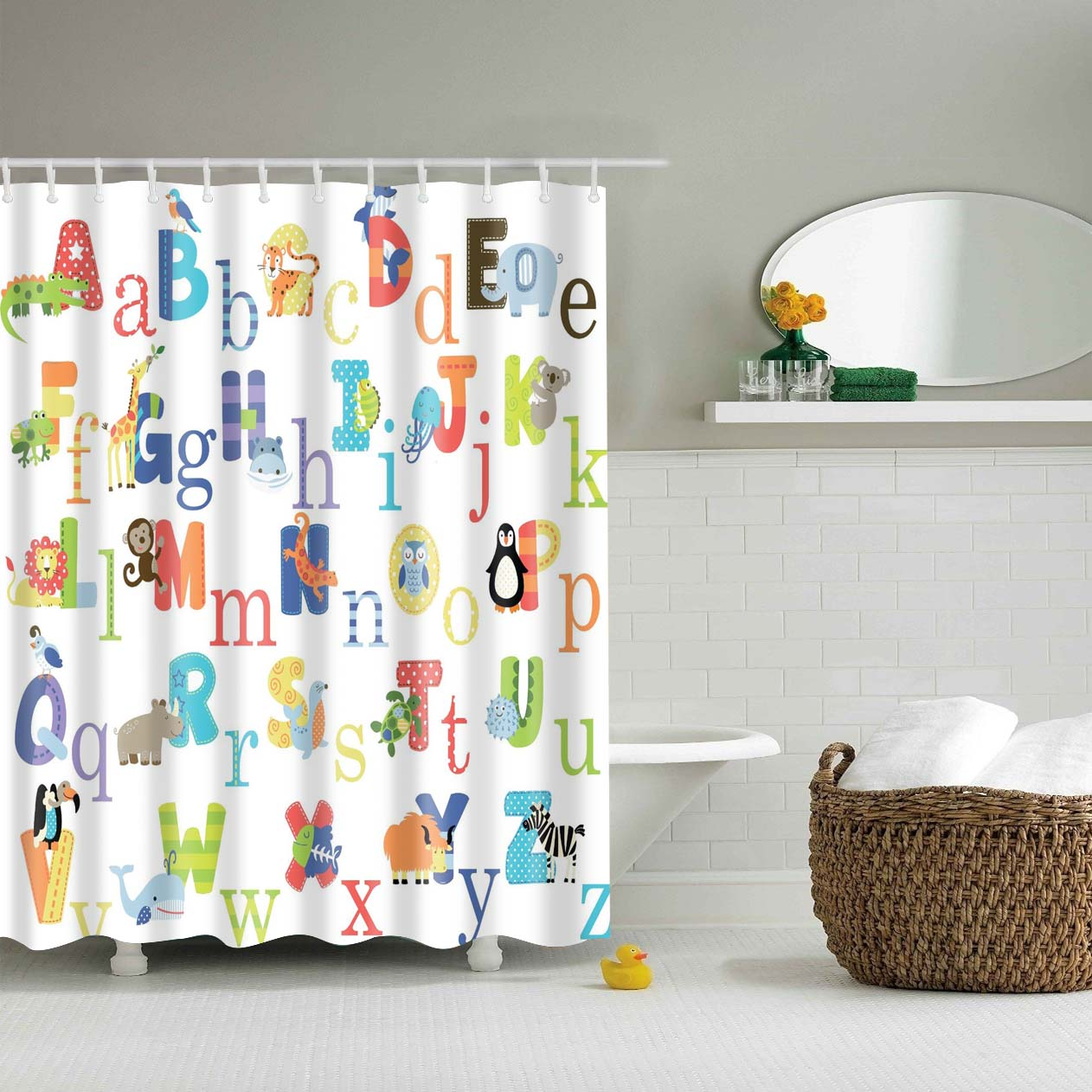 Alphabet Educational Cute Animal Kids Shower Curtain | GoJeek