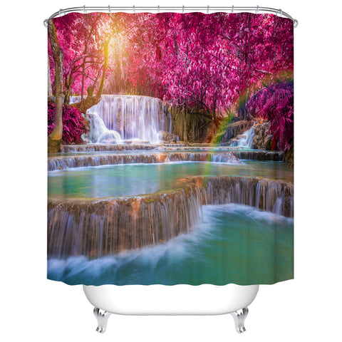 Amazing Colorful Autumn Purple Forest Waterfall Shower Curtain