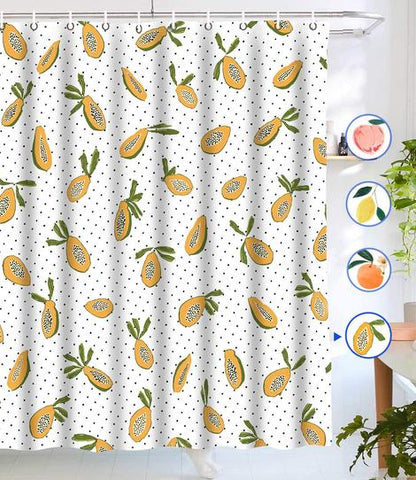 American Fruit Black Dotted Papaya Shower Curtain