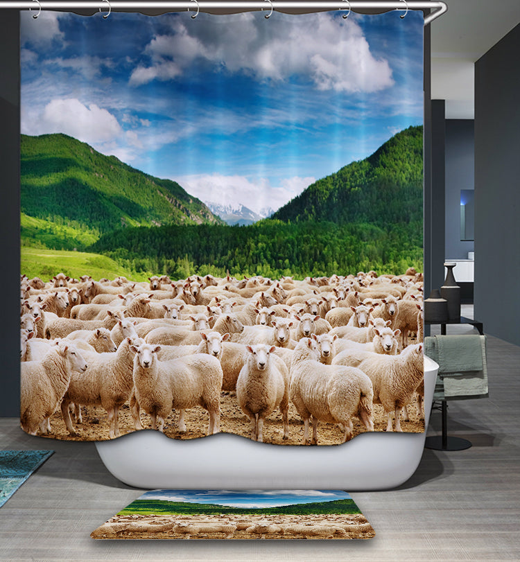 American Farmhouse Herd Of Sheep Shower Curtain