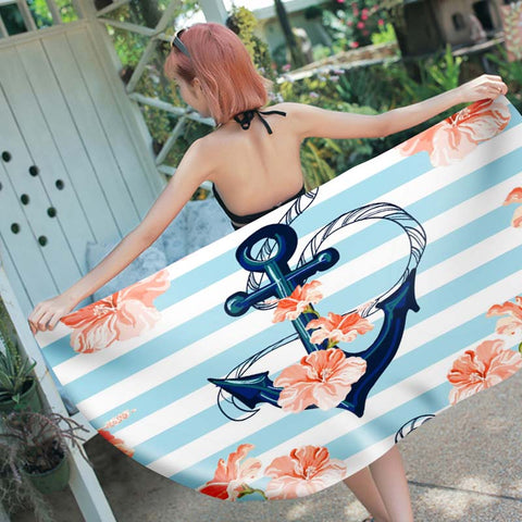 Ancla con Flowers Beach Towel Square