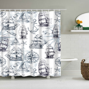Ancient Nautical Sailboat Pattern Dark Blue Ship Shower Curtain