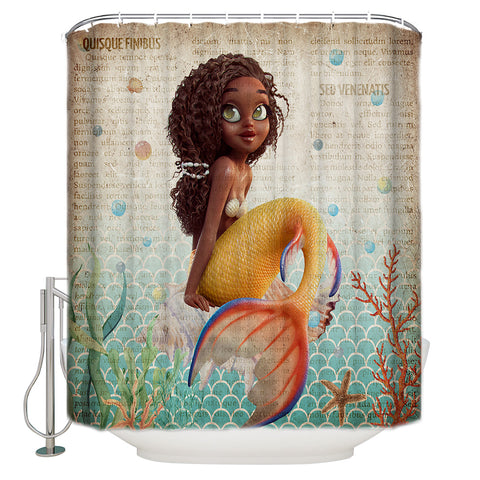 Ancient Newspaper Backdrop Goldfish Tail Afro Black Little Mermaid Shower Curtain