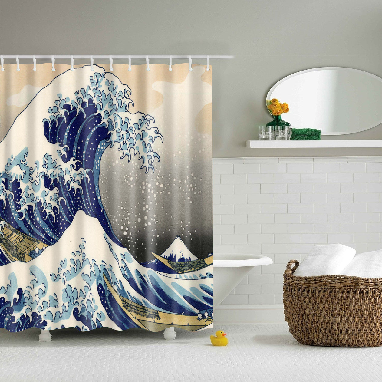 The Great Wave off Kanagawa Shower Curtain | GoJeek