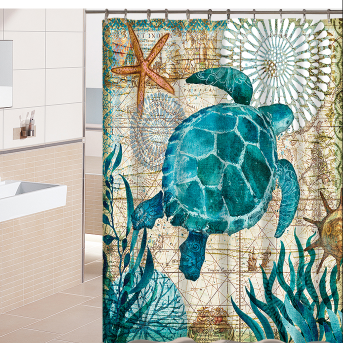 Ancient Green Sea Turtle Shower Curtain Watercolor Print Beach Bath Curtain | GoJeek