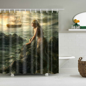 Ancient Sailling Boat Coast Mermaid Shower Curtain