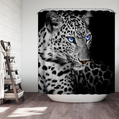 Angry Face Leopard Eyes Shower Curtain