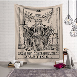 Antique The Justice Major Arcane Tarot Card Tapestry