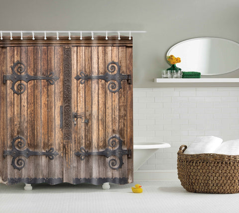 Antique Wood Interior Double Barn Door Shower Curtain