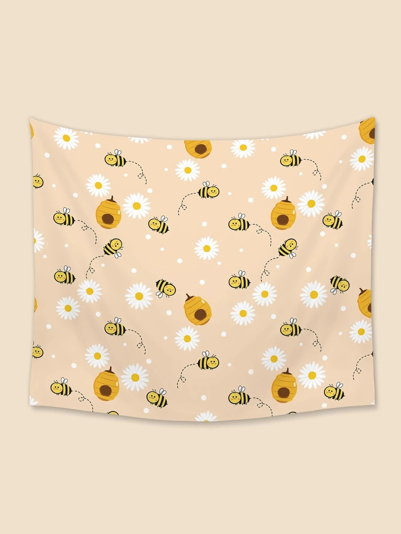 Apricot Backdrop Cute Honey Daisy Seamless Bee Tapestry