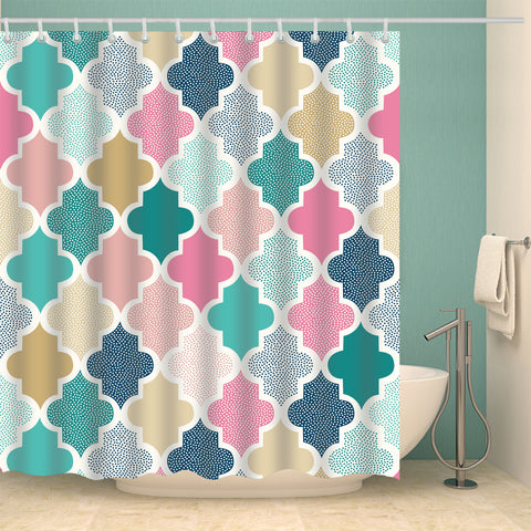 Arabian Style Geometric Ethnic Ornament Beige Shower Curtain
