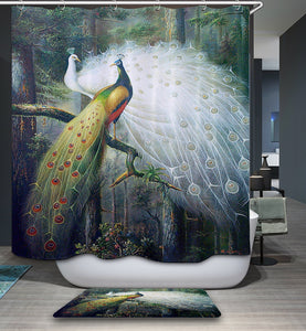 Astonishing White Feather Peacock Couple Shower Curtain