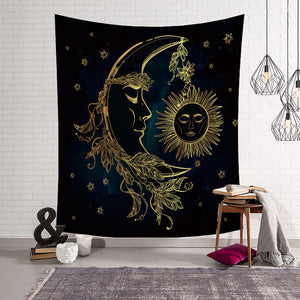 Astrology Ornate Crescent Moon Tapestry