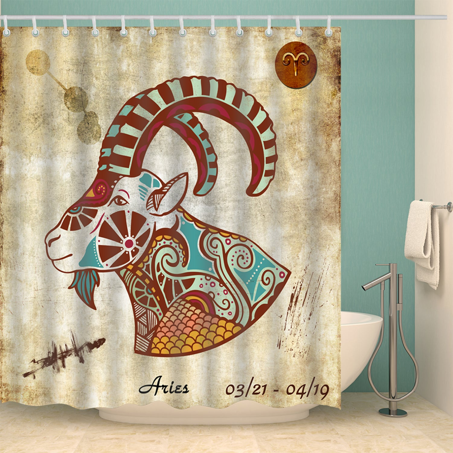 Astrology Zodiac Sign Aries Shower Curtain