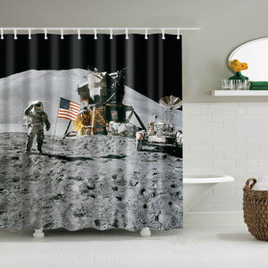 Astronaut on Moon Surface First Moon Landing Shower Curtain