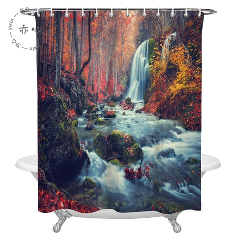 Autumn Fall Forest Landscape Foliage Waterfall River Mountain Shower Curtain