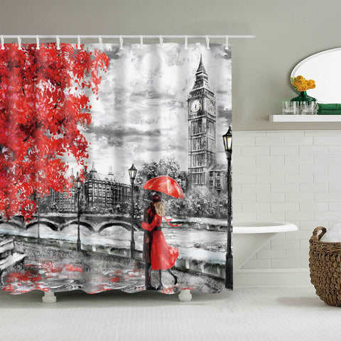Autumn Lovers Art London Big Ben Shower Curtain