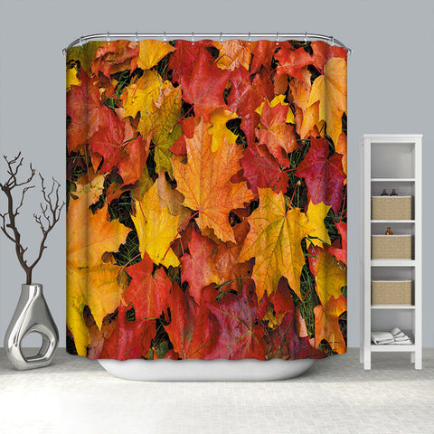 Autumn Season Fall Leaves on The Ground Maple Leaf Shower Curtain