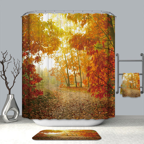 Autumn Season Golden Ground Avenue Park with Sunshine Falling Maple Leaf Shower Curtain