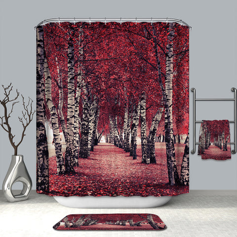Autumn Season Park Color Natural Landscape Fall Foliage Birch Tree Shower Curtain