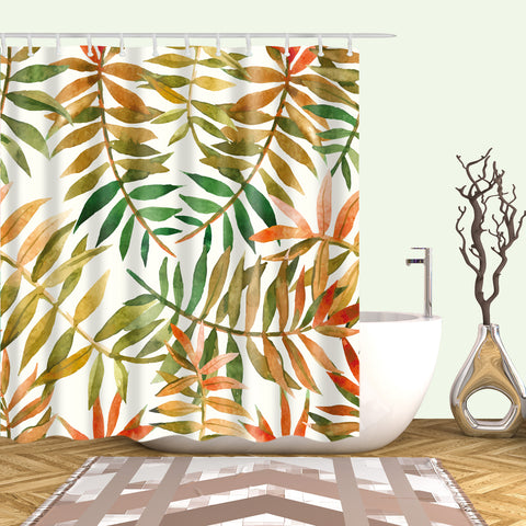Autumn Australian Jungle Banana Leaves Shower Curtain