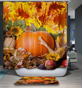 Autumn Harvest Vegetables with Pumpkin Holiday Shower Curtain