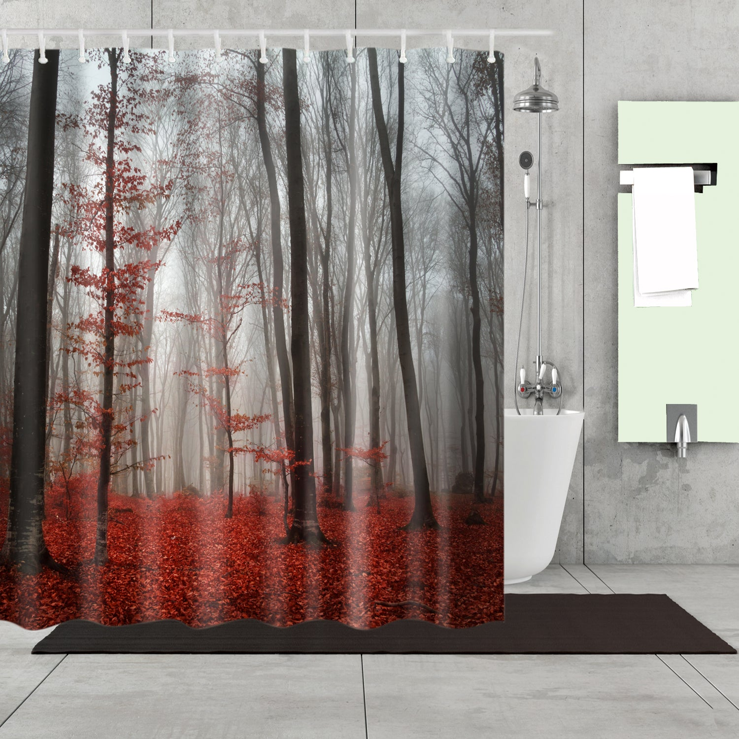 Autumn Red Woodlands Forest Shower Curtain