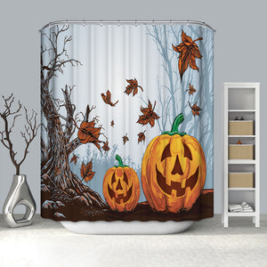 Autumn Scary Pumpkin with Tree Halloween Shower Curtain
