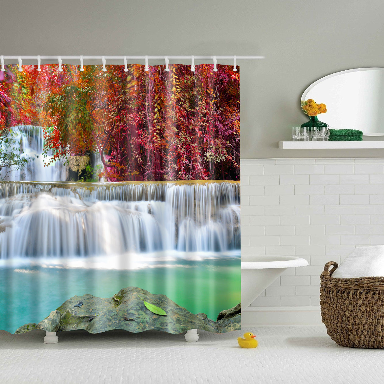 Autumn Waterfall Leaves Shower Curtain
