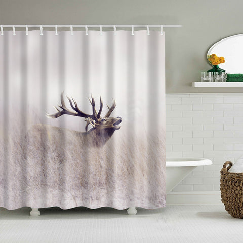 Autumn Wildlife Grass Landscape Reindeer Deer Shower Curtain