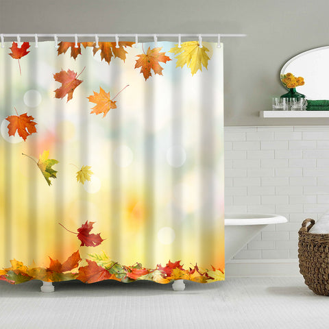 Autumnal Falling Foliage Map Leaves Shower Curtain