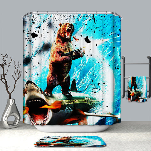 Awesome Bear Riding Shark Shower Curtain Surf Bathroom