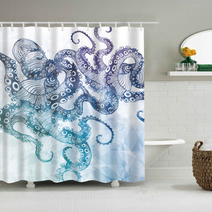 Awesome Blue Print Octopus Tentacles Shower Curtain