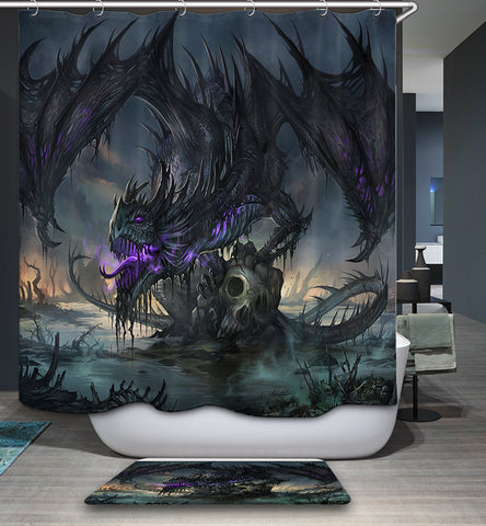 Awesome Clan Black Dragon Shower Curtain