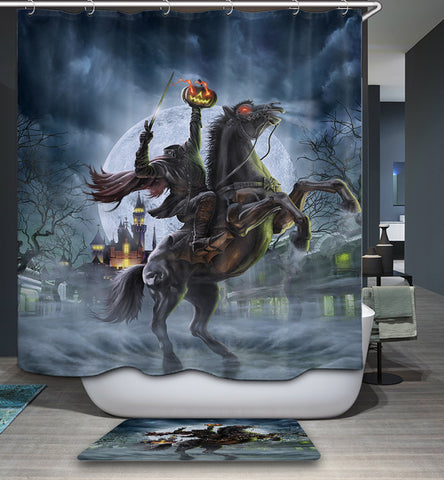 Awesome Halloween Headless Horseman Shower Curtain