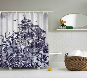 Awesome Kraken with Sailboat Octopus Shower Curtain