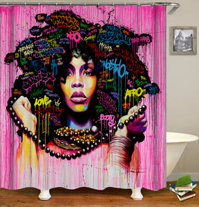 BADUIZM Fine Black Women Hairstyle Shower Curtain