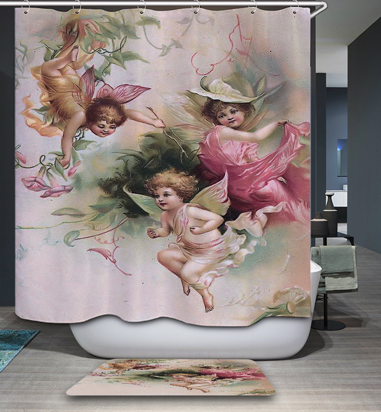 Barnes Oil Paintings Antique Vintage Roses Cherub Shower Curtain