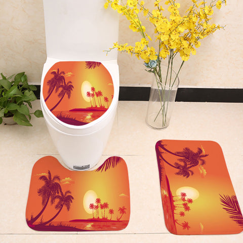 Beach Coast Sunset Palm Tree Toilet Seat Cover